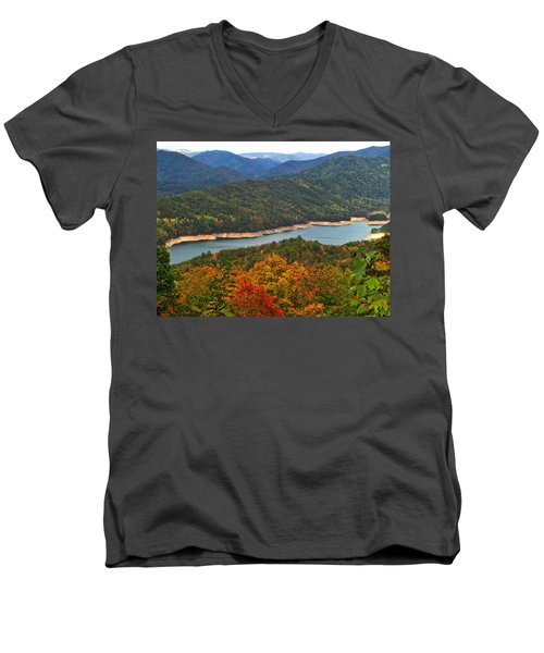 Fontana Lake In Fall Men's V-Neck T-Shirt