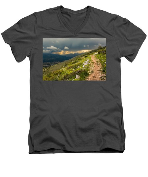 Foot Path Into The French Alps Men's V-Neck T-Shirt