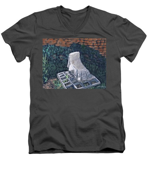 Foot Statue-caesaria Men's V-Neck T-Shirt