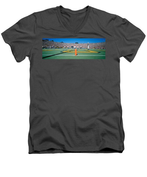 Football Game, University Of Michigan Men's V-Neck T-Shirt by Panoramic Images
