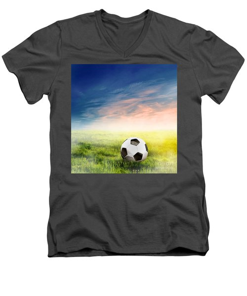 Football Soccer Ball On Green Grass Men's V-Neck T-Shirt by Michal Bednarek
