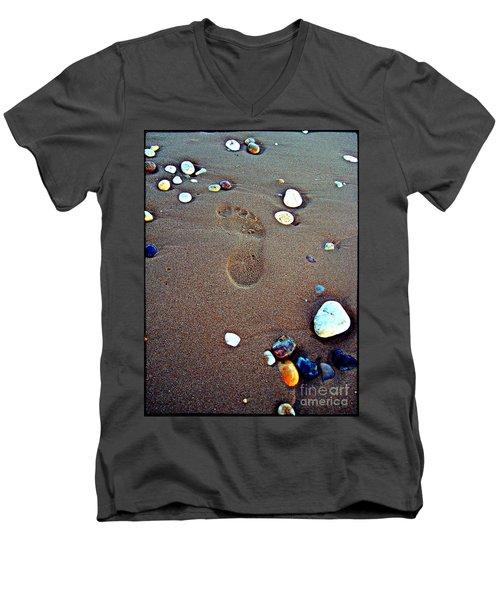 Footprint Men's V-Neck T-Shirt by Nina Ficur Feenan