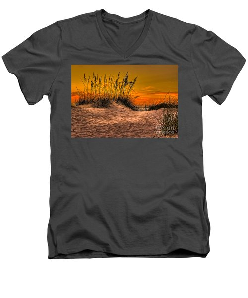 Footprints In The Sand Men's V-Neck T-Shirt by Marvin Spates