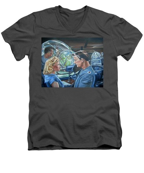 Men's V-Neck T-Shirt featuring the painting Forbidden Planet by Bryan Bustard