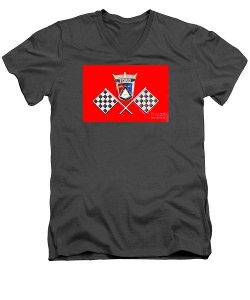 Ford Emblem Men's V-Neck T-Shirt by Jerry Fornarotto