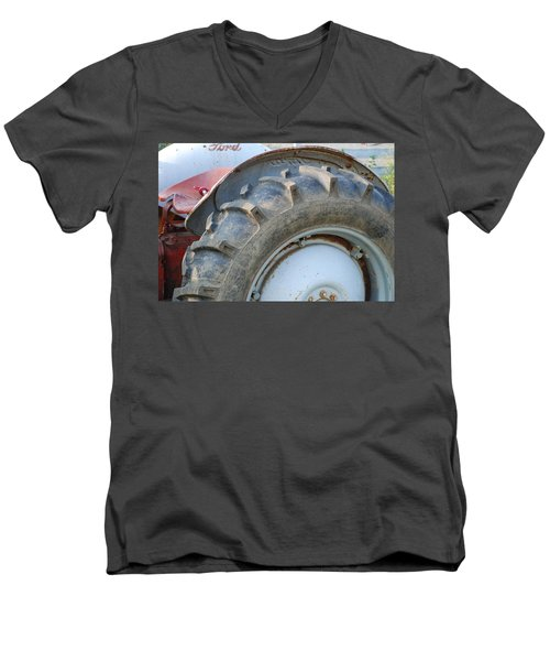 Men's V-Neck T-Shirt featuring the photograph Ford Tractor by Jennifer Ancker