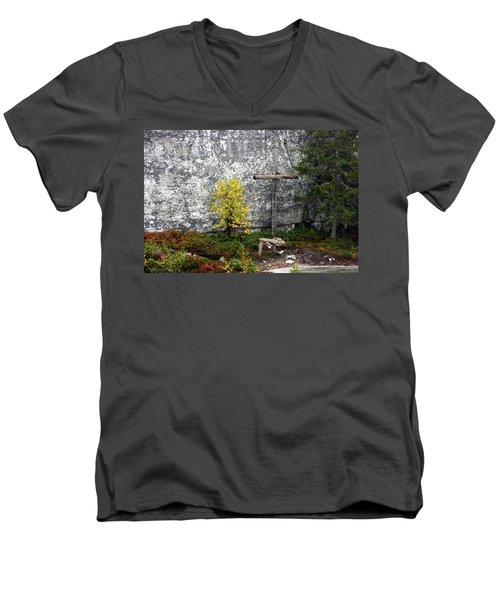 Men's V-Neck T-Shirt featuring the photograph Forest Altar by Leena Pekkalainen