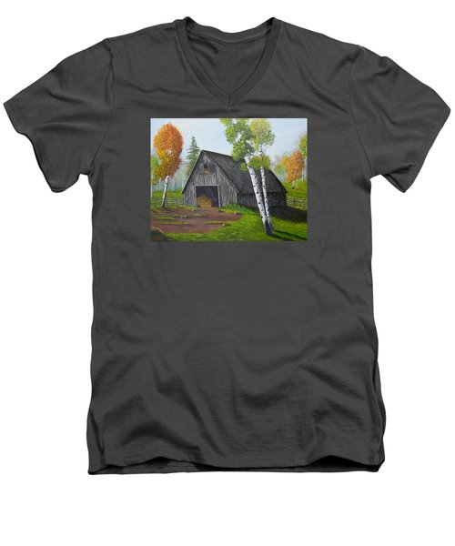 Men's V-Neck T-Shirt featuring the painting Forest Barn by Sheri Keith