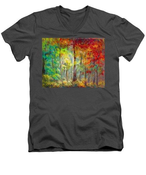 Men's V-Neck T-Shirt featuring the painting Forest by Bozena Zajaczkowska