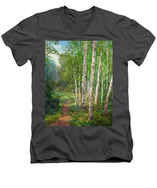 Russian Forest Footpath Men's V-Neck T-Shirt