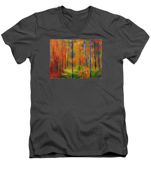 Men's V-Neck T-Shirt featuring the painting Forest In The Fall by Bruce Nutting