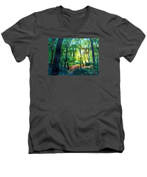Men's V-Neck T-Shirt featuring the painting Forest Scene 1 by Kathy Braud