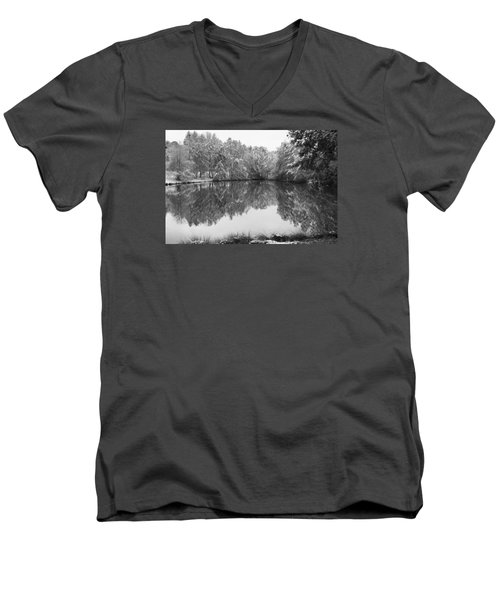 Men's V-Neck T-Shirt featuring the photograph Forest Snow by Miguel Winterpacht