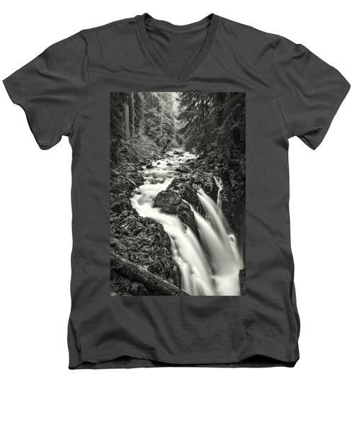 Forest Water Flow Men's V-Neck T-Shirt by Ken Stanback