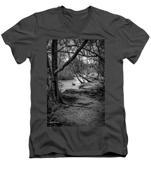 Forgotten Path Men's V-Neck T-Shirt by Charlie Duncan