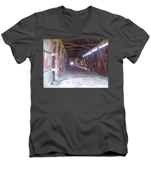 Men's V-Neck T-Shirt featuring the photograph Forgotten Tunnel by Fortunate Findings Shirley Dickerson