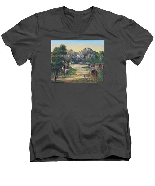 Forgotten Village Men's V-Neck T-Shirt by Remegio Onia