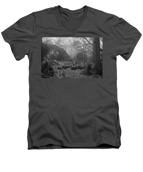 Men's V-Neck T-Shirt featuring the photograph Forset Trees by Maj Seda