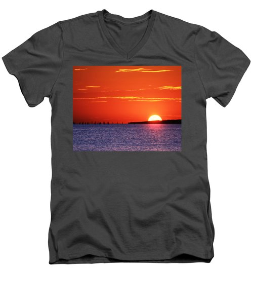 Fort Story Sunrise Men's V-Neck T-Shirt