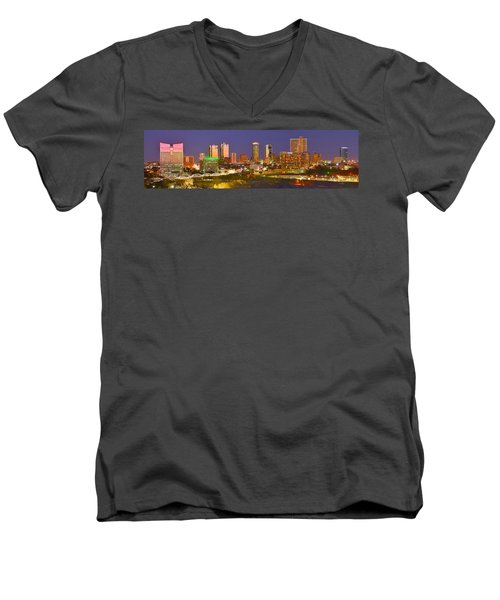Men's V-Neck T-Shirt featuring the photograph Fort Worth Skyline At Night Color Evening Panorama Ft. Worth Texas by Jon Holiday