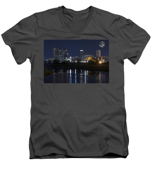 Fort Worth Skyline Super Moon Men's V-Neck T-Shirt by Jonathan Davison
