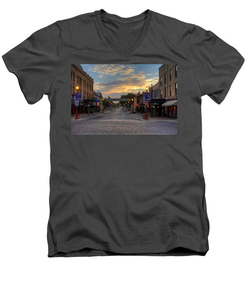 Fort Worth Stockyards Sunrise Men's V-Neck T-Shirt by Jonathan Davison