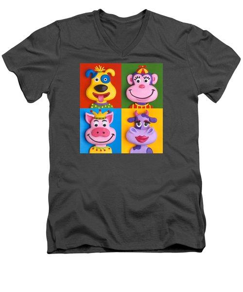 Four Animal Faces Men's V-Neck T-Shirt