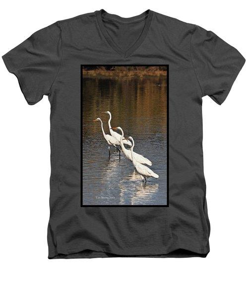 Four Egrets Fishing Men's V-Neck T-Shirt by Tom Janca