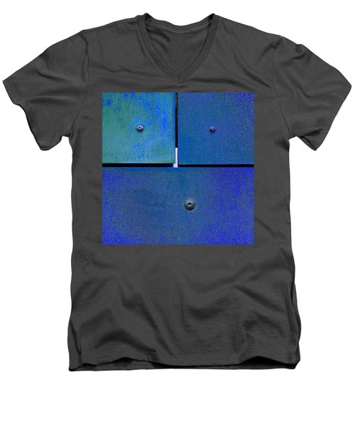Four Five Six - Colorful Rust - Blue Men's V-Neck T-Shirt by Menega Sabidussi