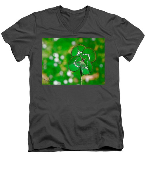 Men's V-Neck T-Shirt featuring the digital art Four Leaf Clover by Ludwig Keck