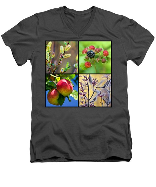 Men's V-Neck T-Shirt featuring the photograph Four Seasons Plants Square by Christina Rollo