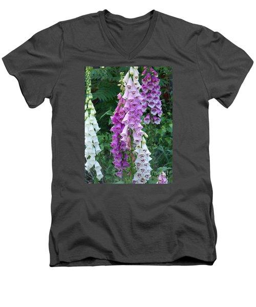 Foxglove After The Rains Men's V-Neck T-Shirt by Eunice Miller