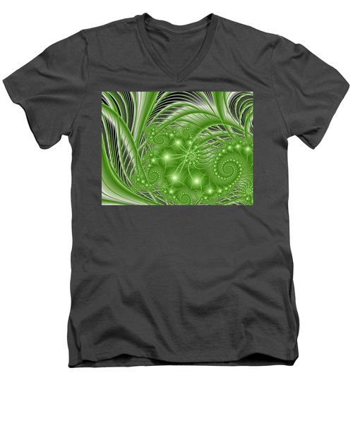 Fractal Abstract Green Nature Men's V-Neck T-Shirt
