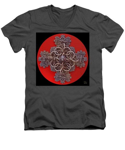 Men's V-Neck T-Shirt featuring the digital art Fractal Cruciform by Manny Lorenzo