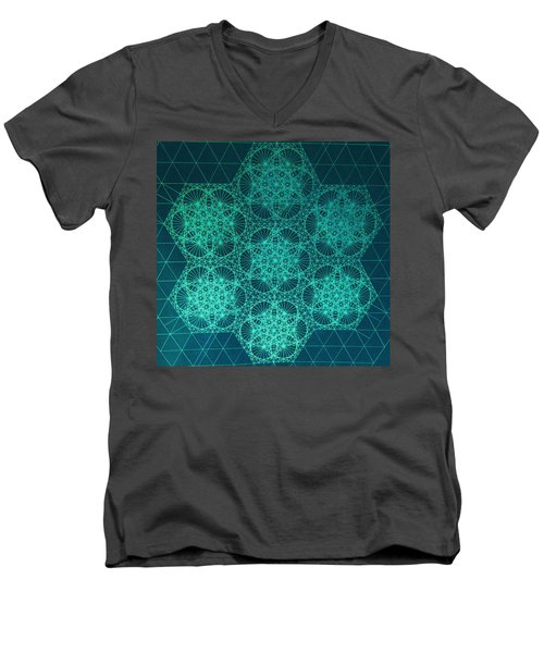 Men's V-Neck T-Shirt featuring the drawing Fractal Interference by Jason Padgett