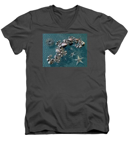 Men's V-Neck T-Shirt featuring the digital art Fractal Sea Life by Manny Lorenzo