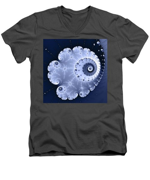Fractal Spiral Light And Dark Blue Colors Men's V-Neck T-Shirt by Matthias Hauser