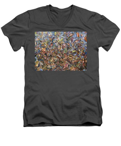 Men's V-Neck T-Shirt featuring the painting Fragmented Fall by James W Johnson