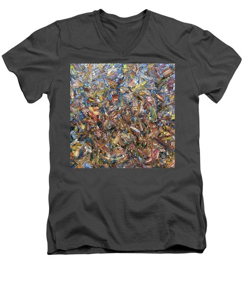 Men's V-Neck T-Shirt featuring the painting Fragmented Fall - Square by James W Johnson