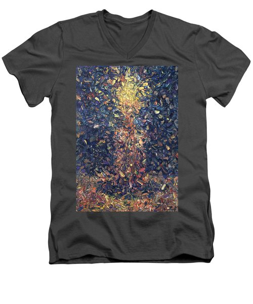 Men's V-Neck T-Shirt featuring the painting Fragmented Flame by James W Johnson
