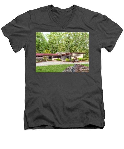 Frank Lloyd Wright At Duncan House Men's V-Neck T-Shirt by Albert Puskaric
