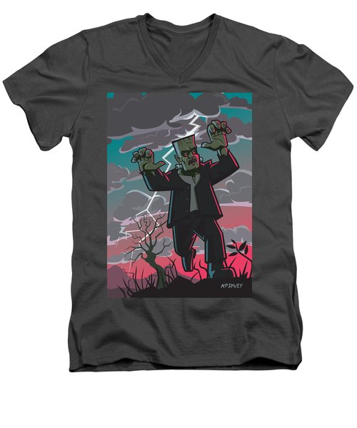 Frankenstein Creature In Storm  Men's V-Neck T-Shirt by Martin Davey