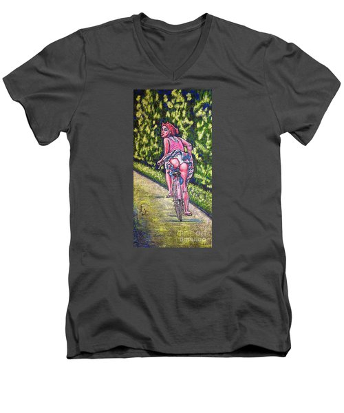 Men's V-Neck T-Shirt featuring the painting Free by Viktor Lazarev