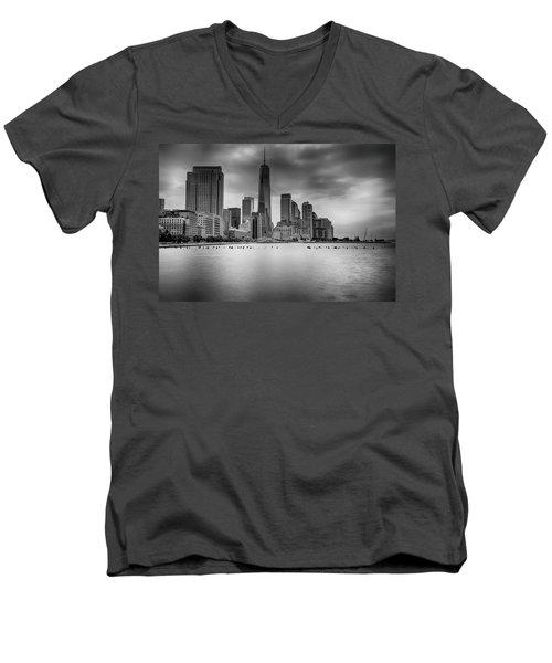 Freedom In The Skyline Men's V-Neck T-Shirt