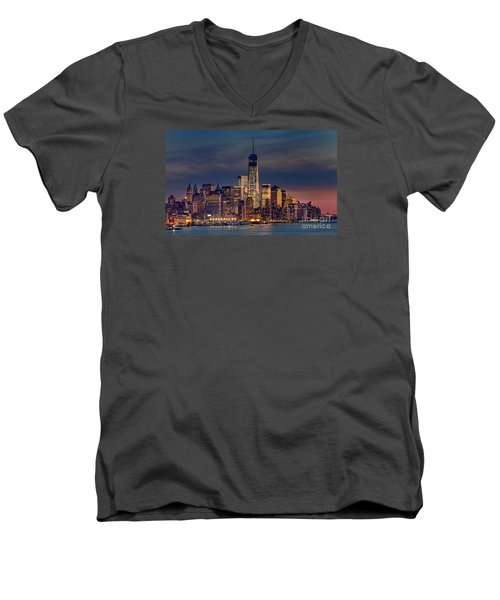 Freedom Tower Construction End Of 2013 Men's V-Neck T-Shirt by Jerry Fornarotto