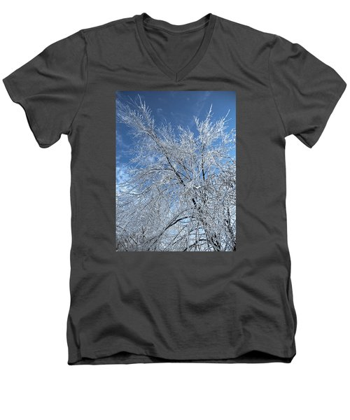 Men's V-Neck T-Shirt featuring the photograph Freezing Rain ... by Juergen Weiss