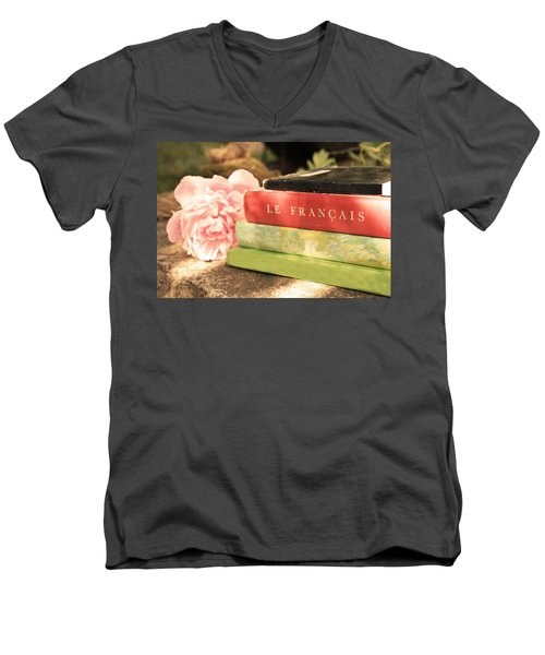 Men's V-Neck T-Shirt featuring the photograph French Books And Peony by Brooke T Ryan