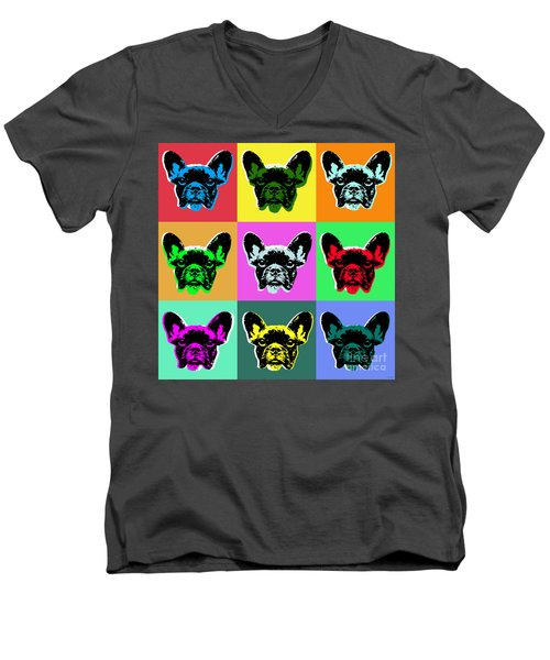 French Bulldog Men's V-Neck T-Shirt by Jean luc Comperat