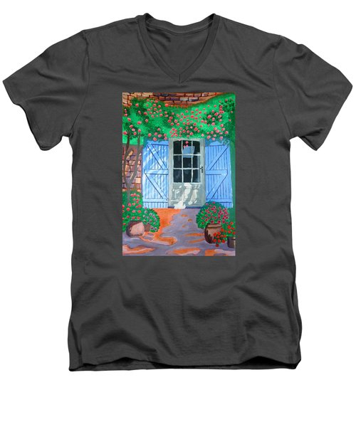 Men's V-Neck T-Shirt featuring the painting French Farm Yard by Magdalena Frohnsdorff