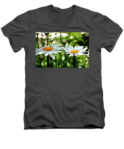 Men's V-Neck T-Shirt featuring the photograph Fresh As A Daisy by Judy Palkimas